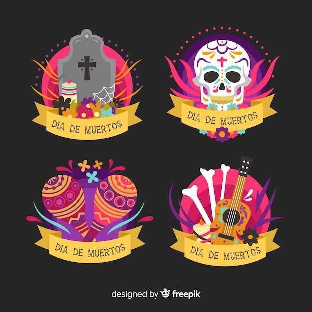 Collezione di etichette dia de muertos in design piatto Vettore gratuito