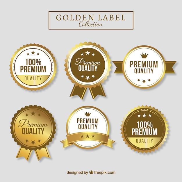Collezione di etichette dorate di alta qualità Vettore gratuito