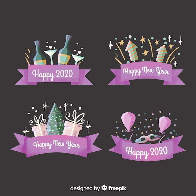 Collezione di etichette e badge acquerello nuovo anno 2020 con nastro viola Vettore gratuito