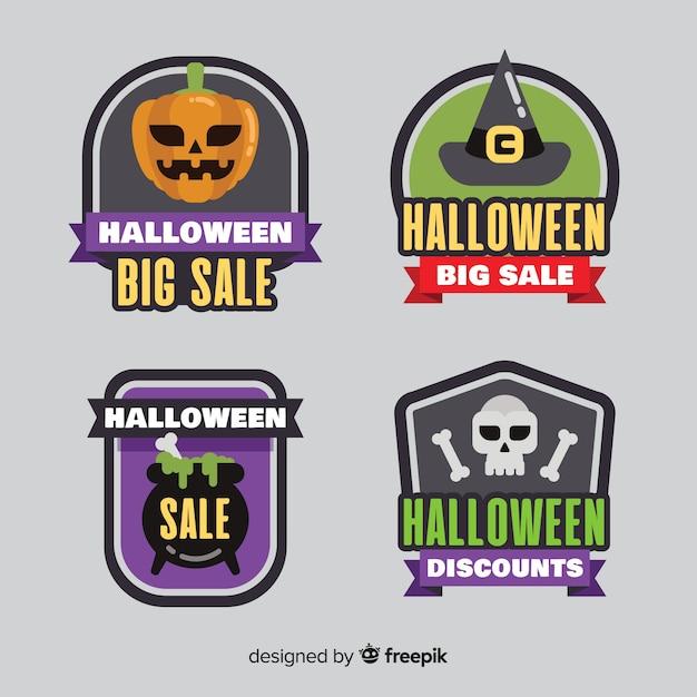 Collezione di etichette e badge piatto vendita di halloween Vettore gratuito