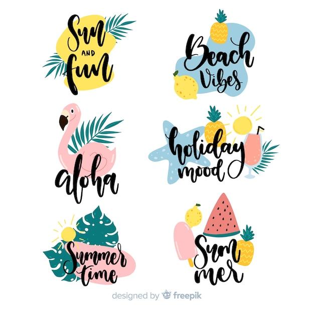 Collezione di etichette estate disegnata a mano colorata Vettore gratuito