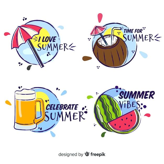 Collezione di etichette estive disegnate a mano Vettore gratuito