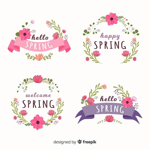 Collezione di etichette floreali primaverili Vettore gratuito