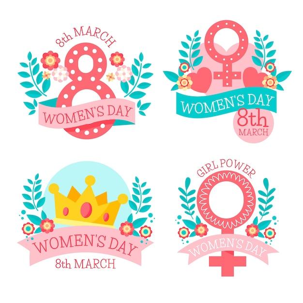 Collezione di etichette giorno delle donne disegnate a mano Vettore gratuito