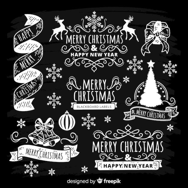 Collezione di etichette natalizie Vettore gratuito