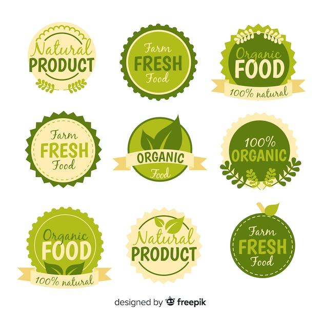 Collezione di etichette per alimenti biologici Vettore gratuito