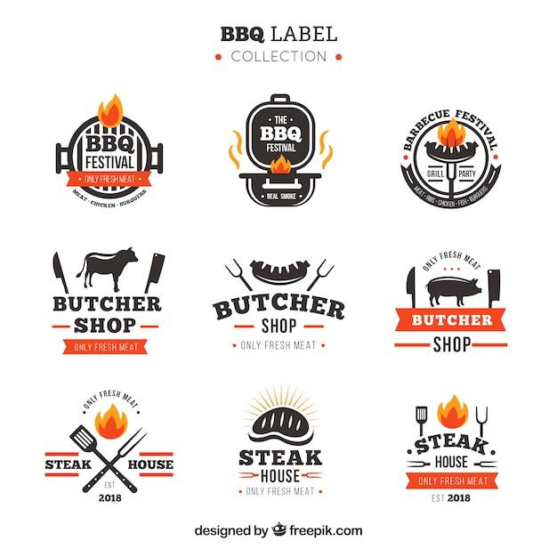 Collezione di etichette per barbecue Vettore gratuito