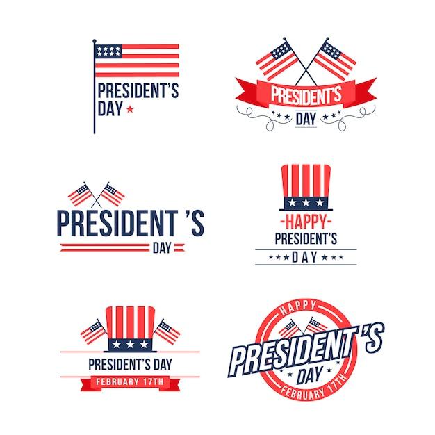Collezione di etichette per il giorno dei presidenti Vettore gratuito