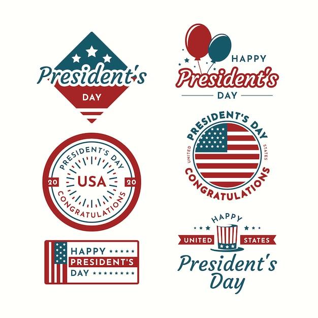Collezione di etichette per il giorno del presidente con palloncini Vettore gratuito