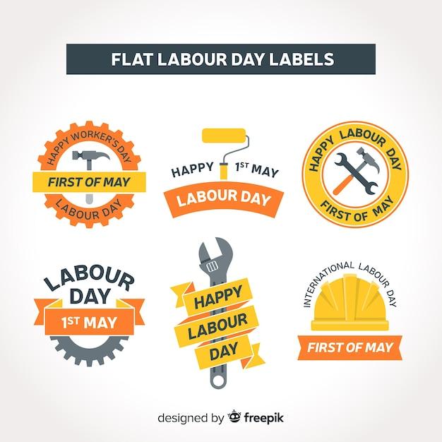 Collezione di etichette per il giorno di lavoro piatto Vettore gratuito