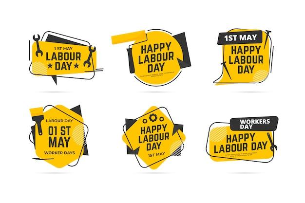 Collezione di etichette per la festa del lavoro Vettore gratuito