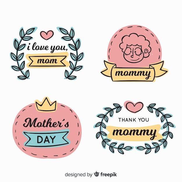Collezione di etichette per la festa della mamma Vettore gratuito