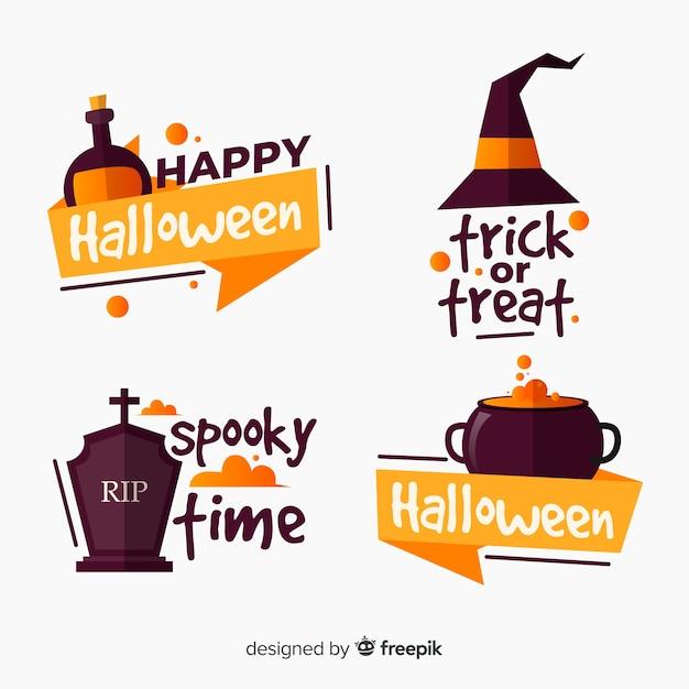 Collezione di etichette piatte di halloween Vettore gratuito