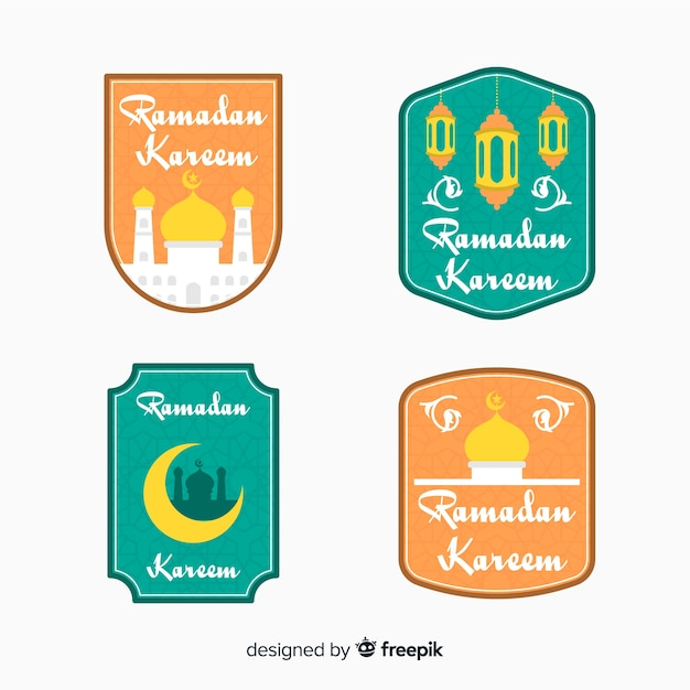 Collezione di etichette piatte ramadan Vettore gratuito