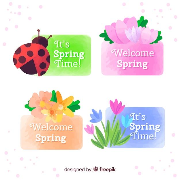 Collezione di etichette primavera acquerello Vettore gratuito
