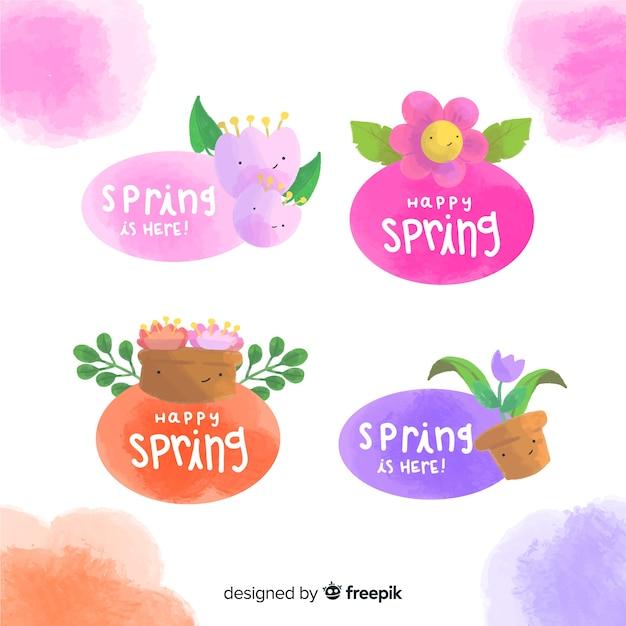 Collezione di etichette primavera Vettore gratuito
