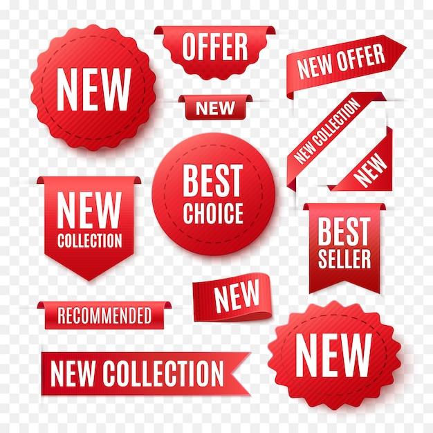 Collezione di etichette promo rosso isolato su bianco Vettore Premium