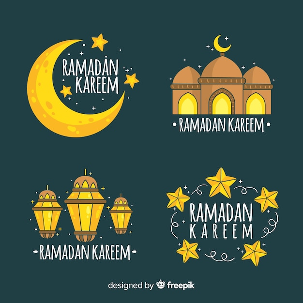 Collezione di etichette ramadan Vettore gratuito