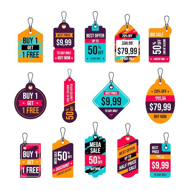 Collezione di etichette sospese. progettazione di cartellini dei prezzi. etichetta e tag di vendita per promozioni commerciali Vettore Premium
