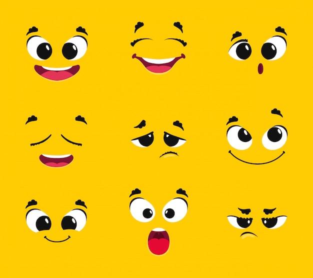 Collezione di facce di cartone animato. emozioni diverse sorriso gioia sorpresa tristezza rabbia brama emoticon paura vettoriale Vettore Premium