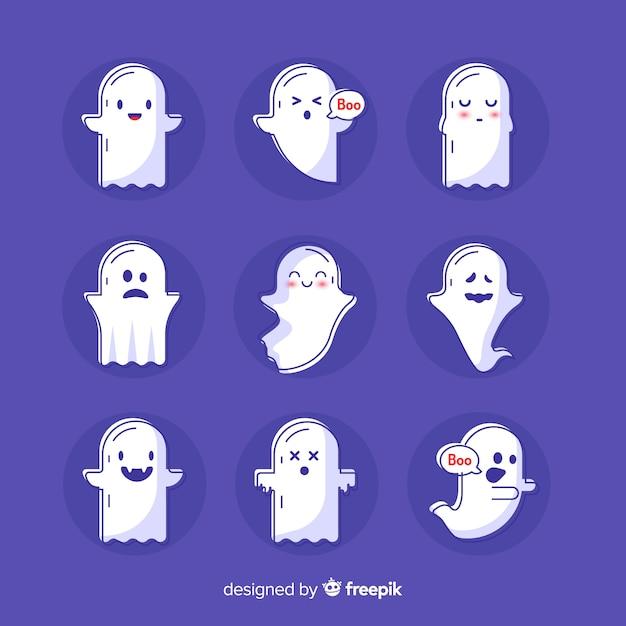 Collezione di fantasmi di halloween carino disegnato a mano Vettore gratuito