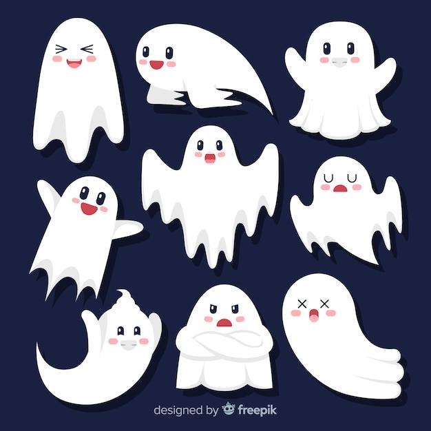 Collezione di fantasmi di halloween piatto simpatico cartone animato Vettore gratuito