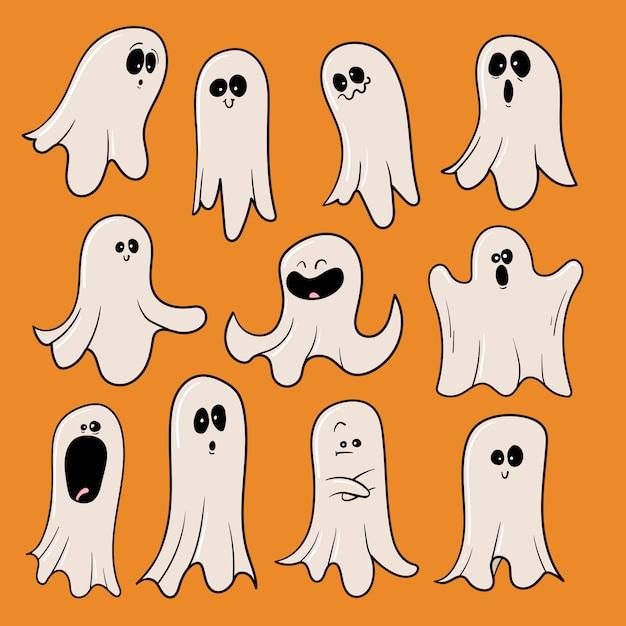 Collezione di fantasmi di halloween Vettore Premium