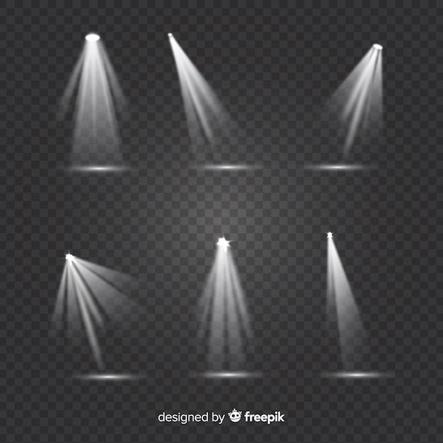 Collezione di faretti teatrali con sfondo trasparente Vettore gratuito