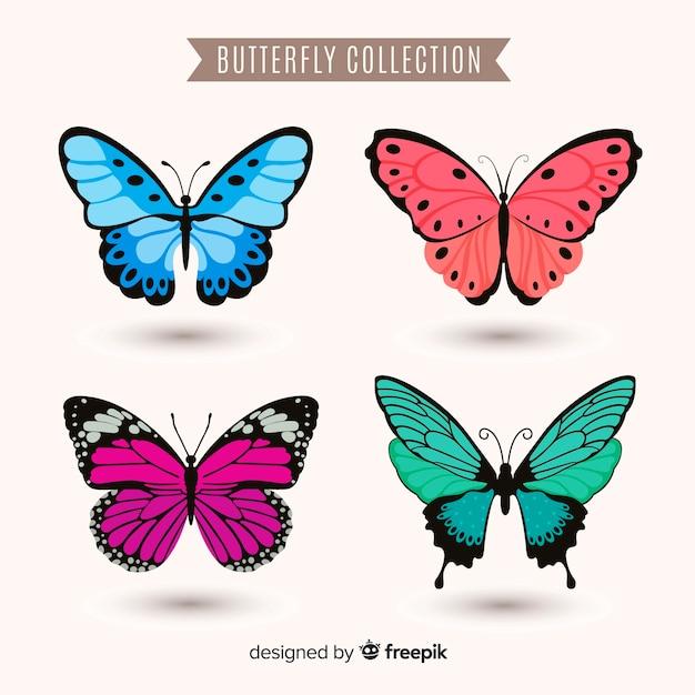 Collezione di farfalle colorate realistico Vettore gratuito