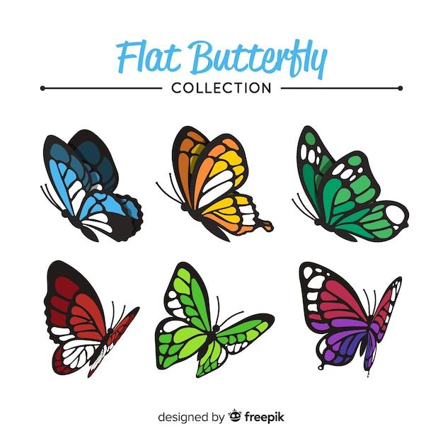 Collezione di farfalle piatte Vettore gratuito