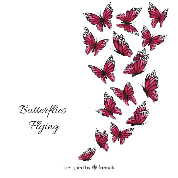 Collezione di farfalle realistiche Vettore gratuito