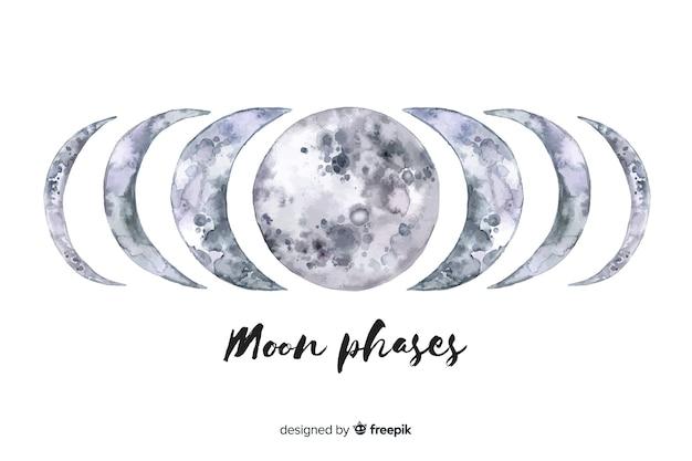 Collezione di fasi lunari dell'acquerello Vettore gratuito