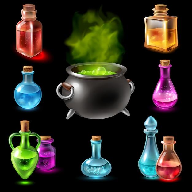 Collezione di fiale hebenon magico Vettore gratuito