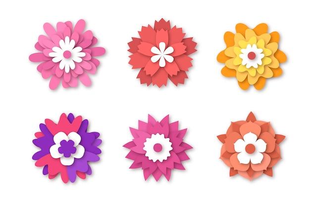 Collezione di fiori colorati primavera in stile carta Vettore gratuito