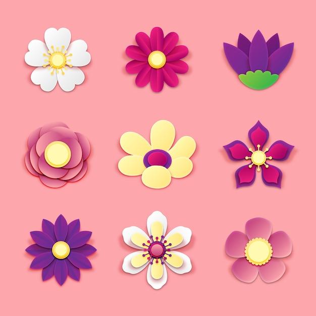 Collezione di fiori colorati primavera su stile carta Vettore gratuito