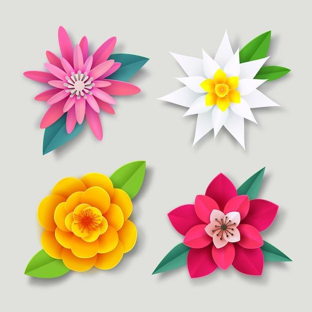 Collezione di fiori colorati primavera Vettore gratuito