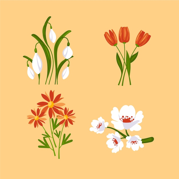 Collezione di fiori di primavera design piatto Vettore gratuito