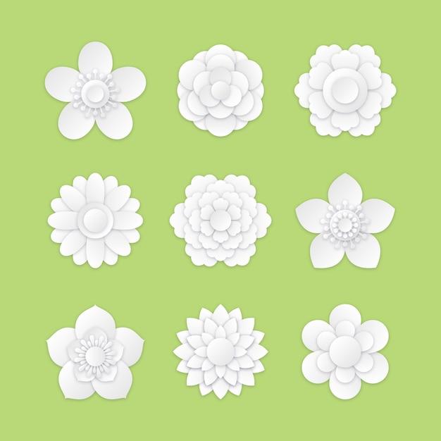 Collezione di fiori di primavera in stile carta Vettore gratuito