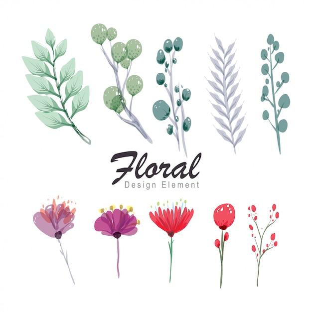 Collezione di fiori e foglie Vettore Premium