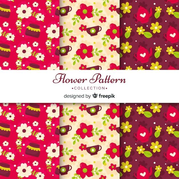 Collezione di fiori piatti Vettore gratuito