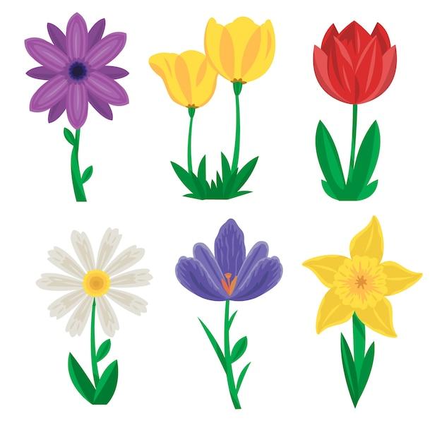 Collezione di fiori primaverili disegnati a mano Vettore gratuito