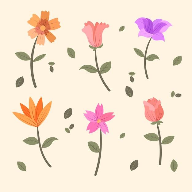 Collezione di fiori vintage primavera Vettore gratuito