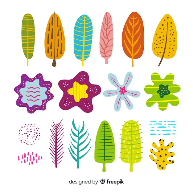 Collezione di foglie e fiori Vettore gratuito