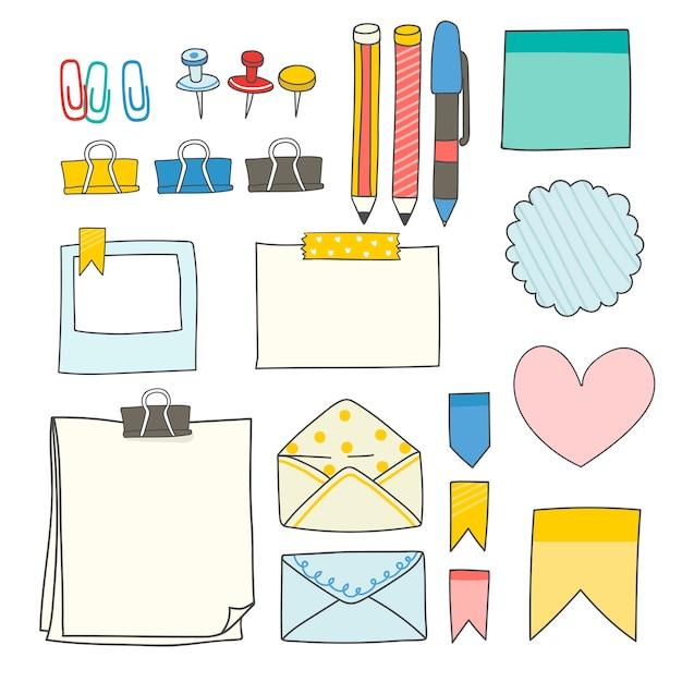 Collezione di forniture colorate di articoli di cancelleria Vettore gratuito