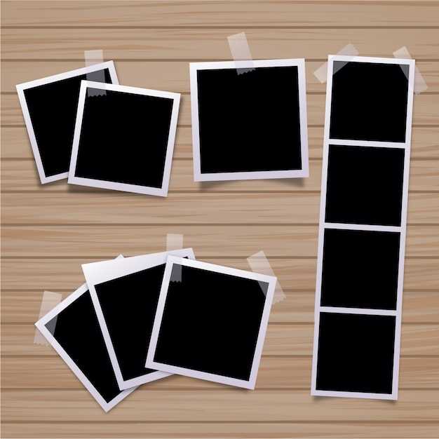 Collezione di foto polaroid Vettore gratuito