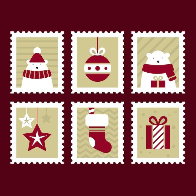 Collezione di francobolli di natale design piatto Vettore gratuito