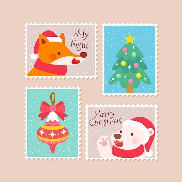 Collezione di francobolli di natale disegnati a mano Vettore gratuito