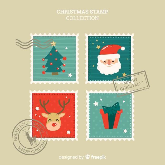 Collezione di francobolli di natale disegnato a mano Vettore gratuito
