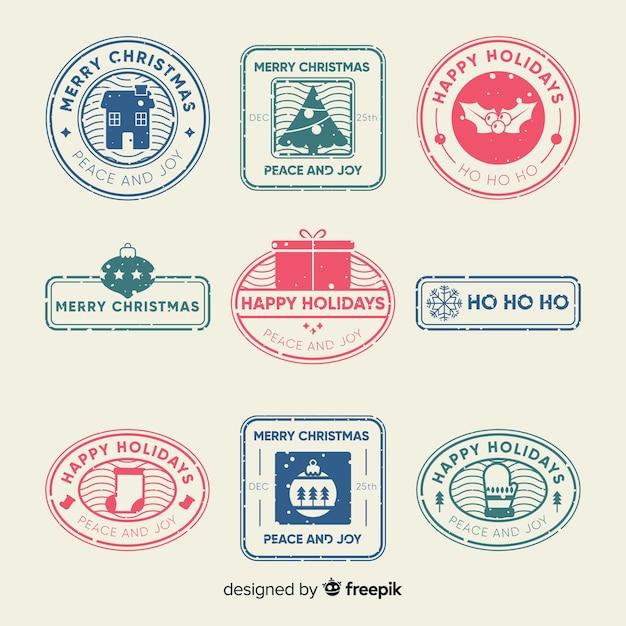 Collezione di francobolli di natale Vettore gratuito