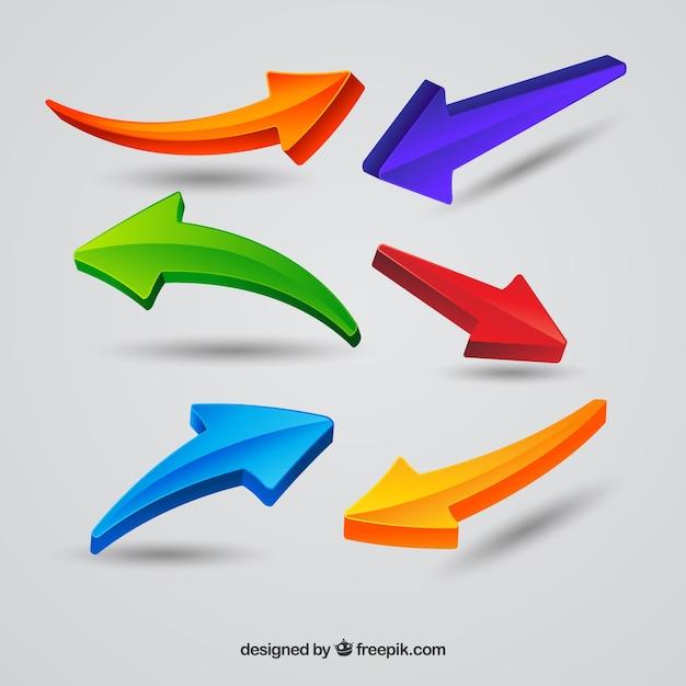 Collezione di frecce colorate con uno stile moderno Vettore gratuito